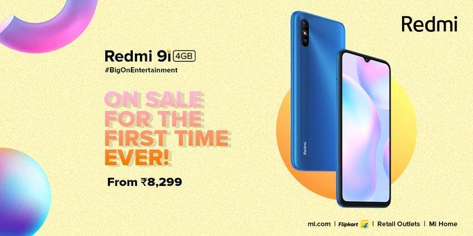 #Redmi9i starting at just ₹8,299!  ~ 4GB RAM as standard ~ 5000mAh Enhanced Lifespan Battery ~ 6.53 HD+ Display  First sale today at 12 noon #Flipkart. https://t.co/4jcmPQJyB6 https://t.co/Nq4DbS7LnS