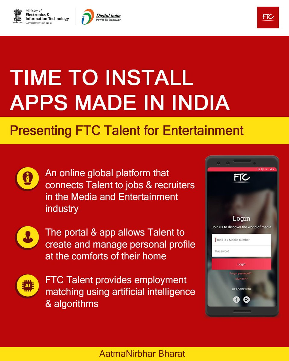 #MadeInIndia | @FTCTalent is a one stop destination for every talent and recruiter. It is an online global platform that connects the potential 'Talent' to jobs & recruiters in the Media & Entertainment. Explore more about this platform here - https://t.co/iGaDnSSqRj @GoI_MeitY https://t.co/wur4uhYHL9