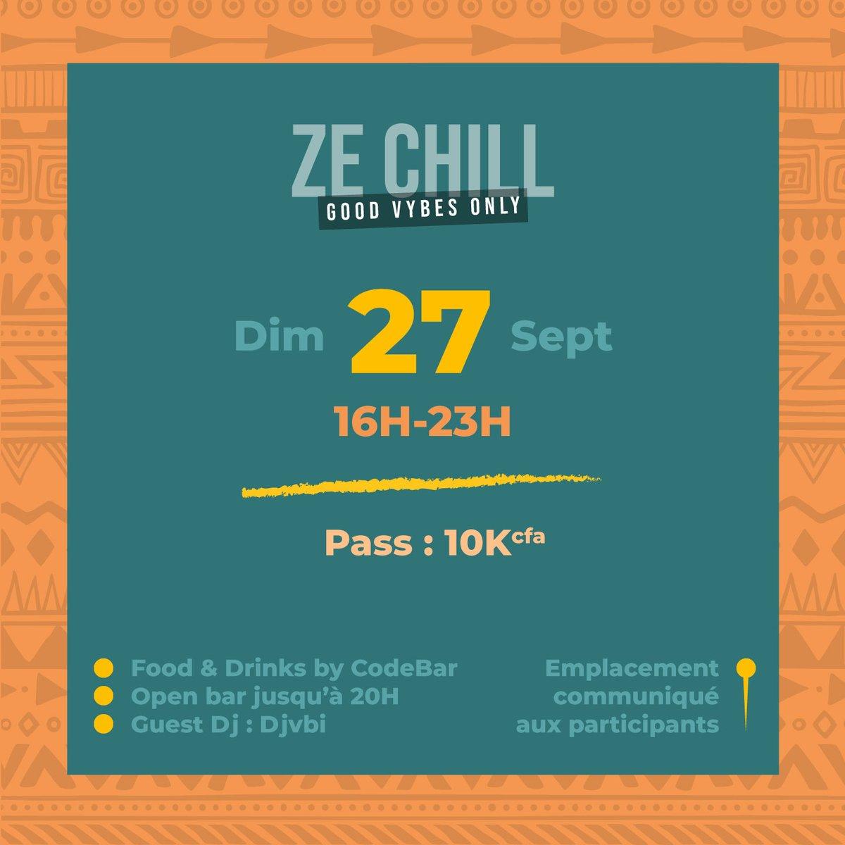 Les bonnes nouvelles arrivent le matin, dit-on.   Ze Chill revient le 27 Septembre :    - Food & Drinks by Code Bar - Open Bar jusqu'à 20h - Guest Dj : Djvbi  Billetterie ouverte dès ce 18 Septembre, inscrivez-vous ici : https://t.co/NwdVKt2TaN  #ZeChill #FreeTheVybe  #Wasexo https://t.co/F7MpphWT7W