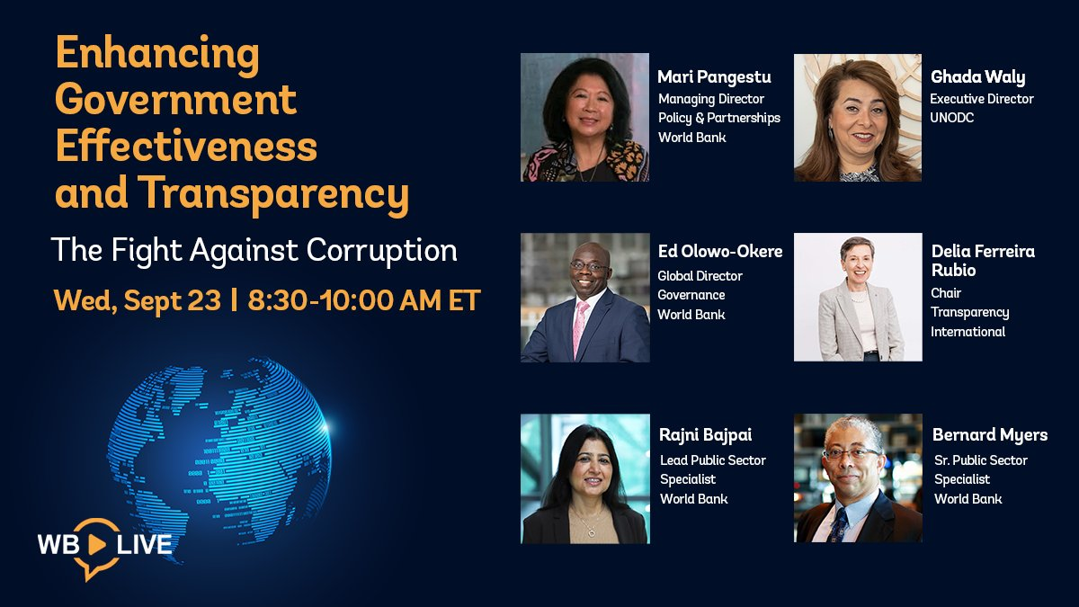 Is there progress being made against #corruption? Find out by joining our LIVE event w/ global experts: @UNODC's @GhadaFathiWaly, @anticorruption's @DeliaFerreira, and @Ed_OlowoOkere, Rajni Bajpai & Bernard Myers from @wbg_gov. https://t.co/DRuRiUmvew #UnitedAgainstCorruption https://t.co/knLZsnPXjP