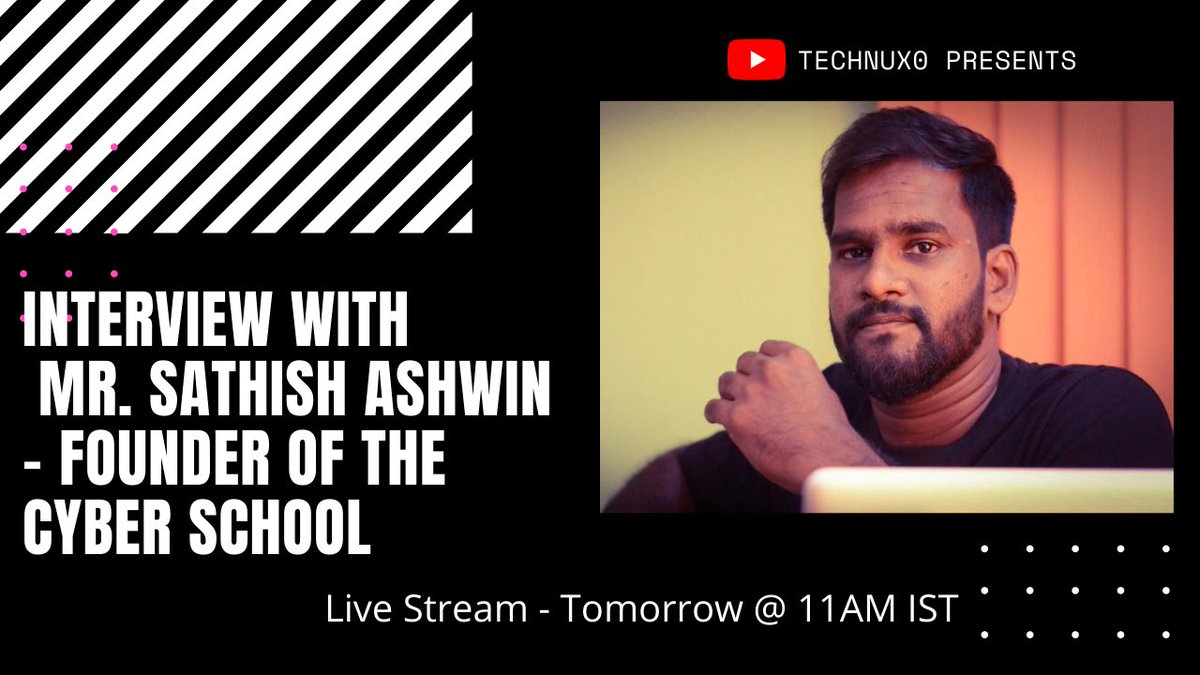 My Next Live session with Mr. Sathish Ashwin - Founder of The Cyber School  @SathishAshwin   Live Stream link: https://t.co/5glzWVwbY9  #Cybersecurity #infosec #redteam #Penetrationtesting #Ethicalhacking #bugbounty #Bughunting https://t.co/5GNsImqM6U