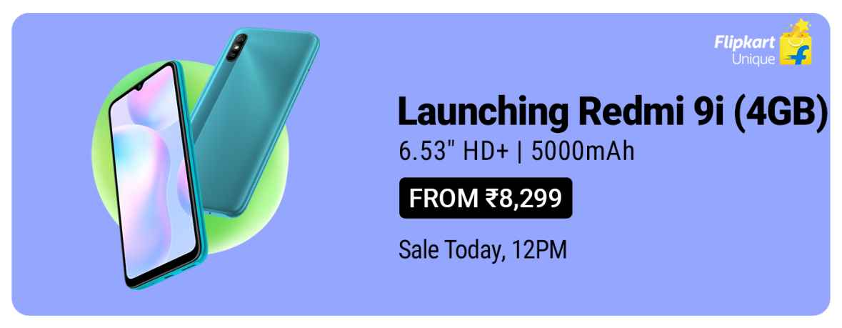 Redmi 9i (4GB) starting from Rs 8,299 | Sale today at 12Pm. #Flipkart https://t.co/qazXbRgSTq https://t.co/fEpy0GexGp