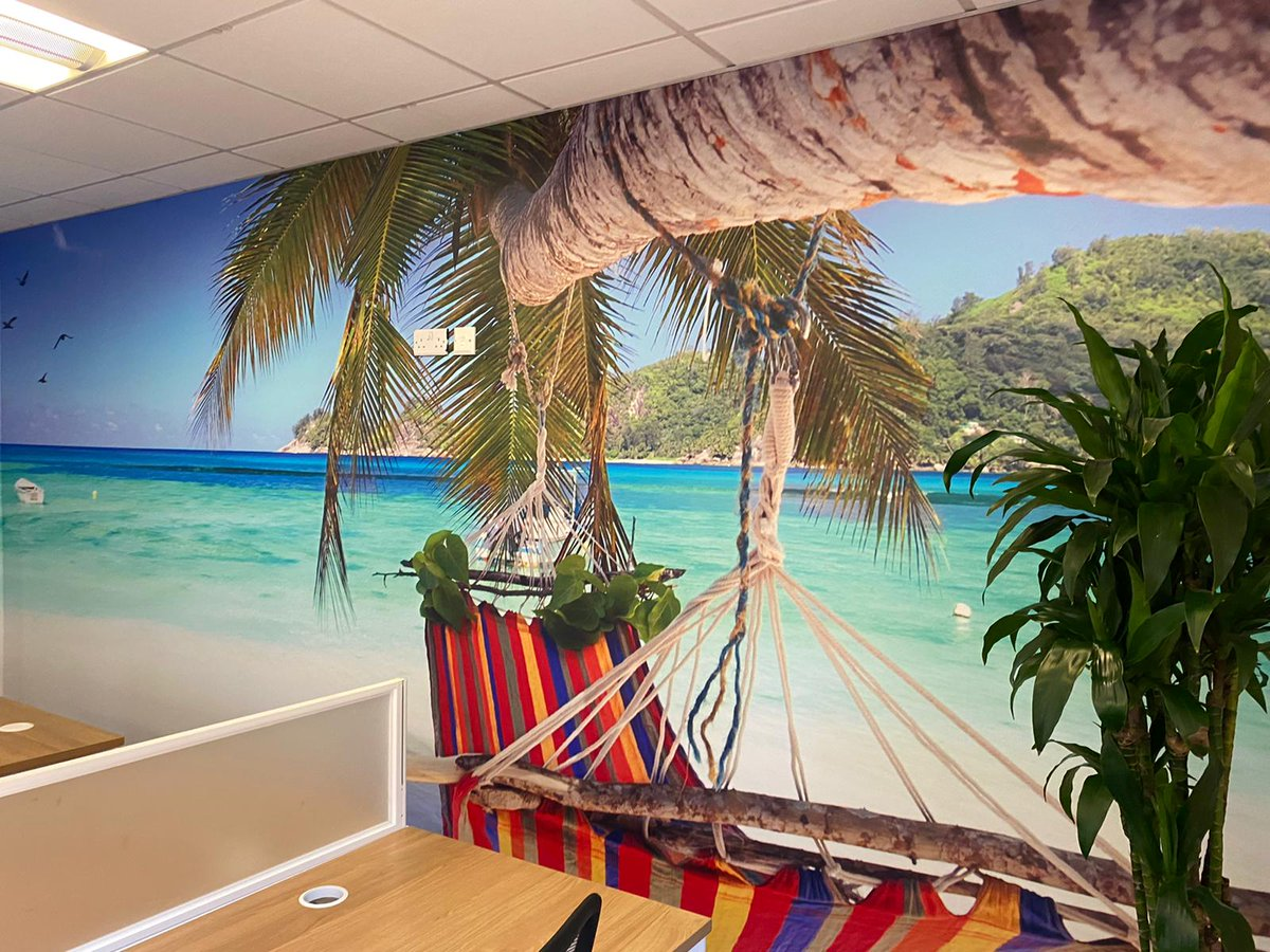 Our new office wall murals are bringing all the summer vibes...happy Friday everyone!