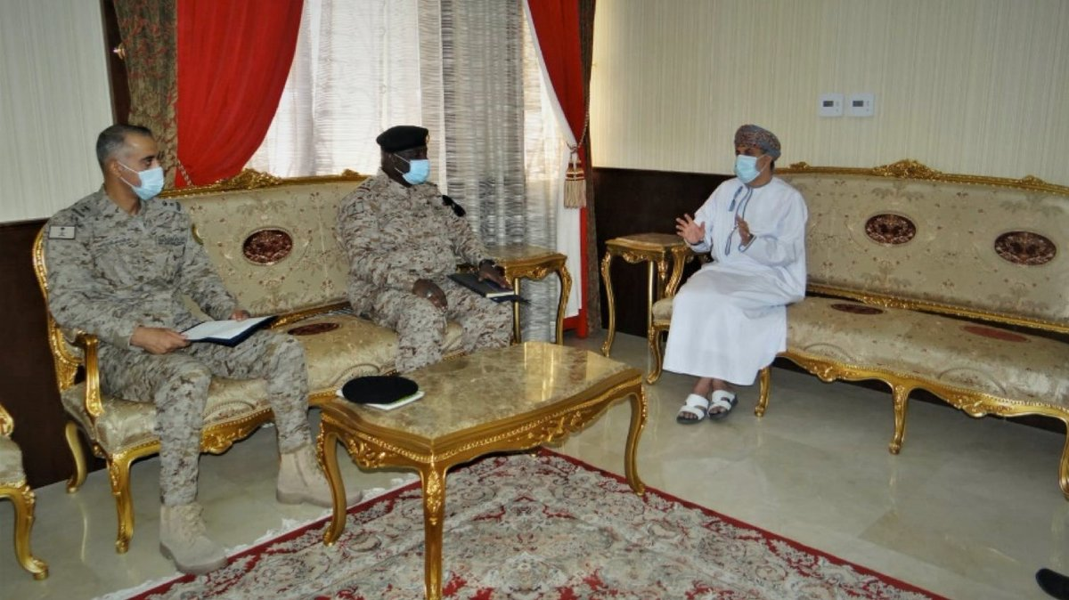The commander of CTF 150, RDML Sulieman Alfakeeh visited the #Oman Embassy where he discussed #maritimesecurity with Oman's Acting Ambassador in #Bahrain, Dr. Muhammed Alblooshi. #ReadyTogether