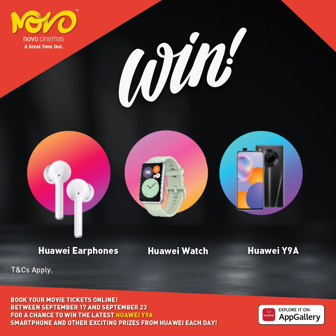 Book your tickets  online between Sep 17th and September 23 to stand a chance to win the latest Huawei Y9A Smartphone & other exciting prizes from Huawei each day!The more you book the more you stand a chance to win!  T&C's apply  https://t.co/VJouq0KPI8     #WinwithNovo  #Huawei https://t.co/opmRdcjJeH