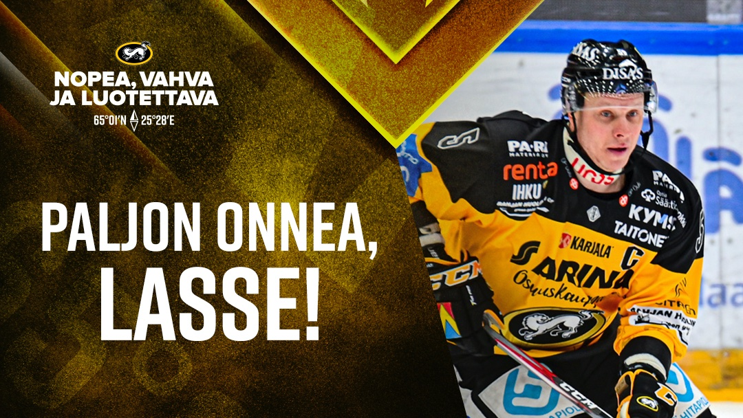 Viikonloppu aloitetaan Lassen merkkipäivällä!! 🎂 Paljon onnea, @Kukkolasse5 ! 🥳🥳 #Kärpät #Liiga