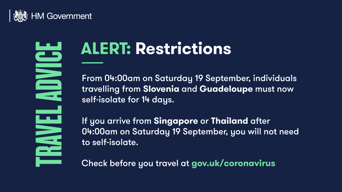 *TRAVEL UPDATE* People arriving in England from 🇸🇮 Slovenia and 🇬🇵 Guadeloupe from 4am on Saturday will need to self isolate for two weeks. People arriving from 🇸🇬 Singapore or 🇹🇭 Thailand will not need to self-isolate for 14 days. ➡️ gov.uk/guidance/coron…