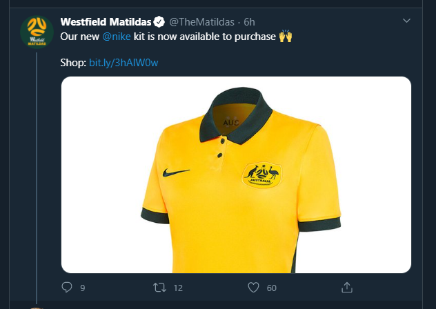 """In today's example of """"great job everyone 👍"""", the new Australian Women's soccer team jersey is on sale. They didn't make it in Women's sizes 🙃 https://t.co/uItJAqDdUo"""