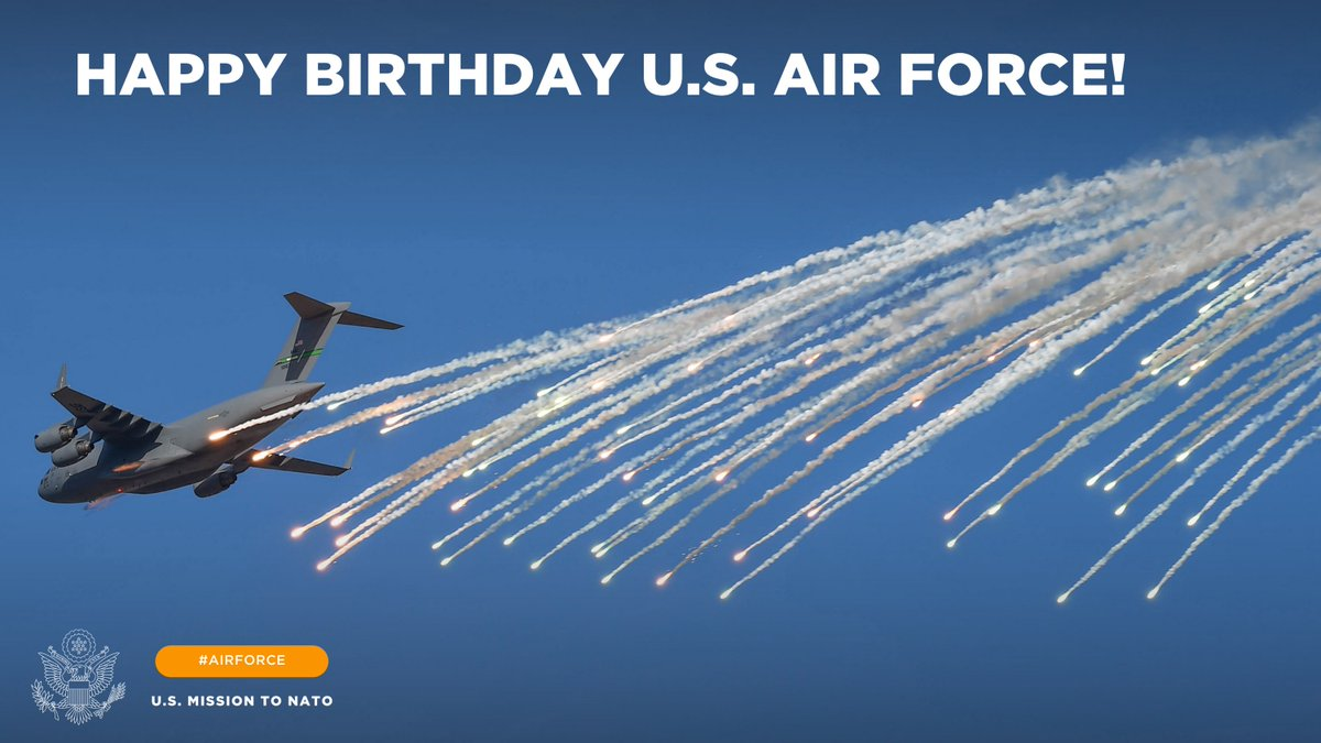 Happy birthday to the 🇺🇸 U.S. Air Force! Since its creation as a separate branch of the military, the @usairforce has been keeping skies safe across the @NATO Alliance and innovating for the future of defense. Thank you for your service!