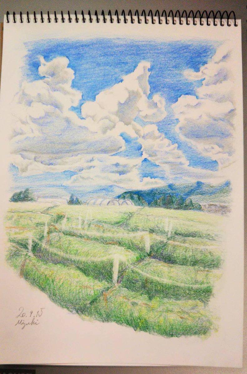 【夏空】  💭長期休暇に行った山梨の葡萄畑と大きな入道雲が夏の熱気を感じさせるかなと思い描いてみたものです  2,3枚目はメイキングです!🏞  #SNS展示会 #色鉛筆  #sketchbook  #illustration #drawing #art #入道雲   #熱気 https://t.co/EphzaWwThw