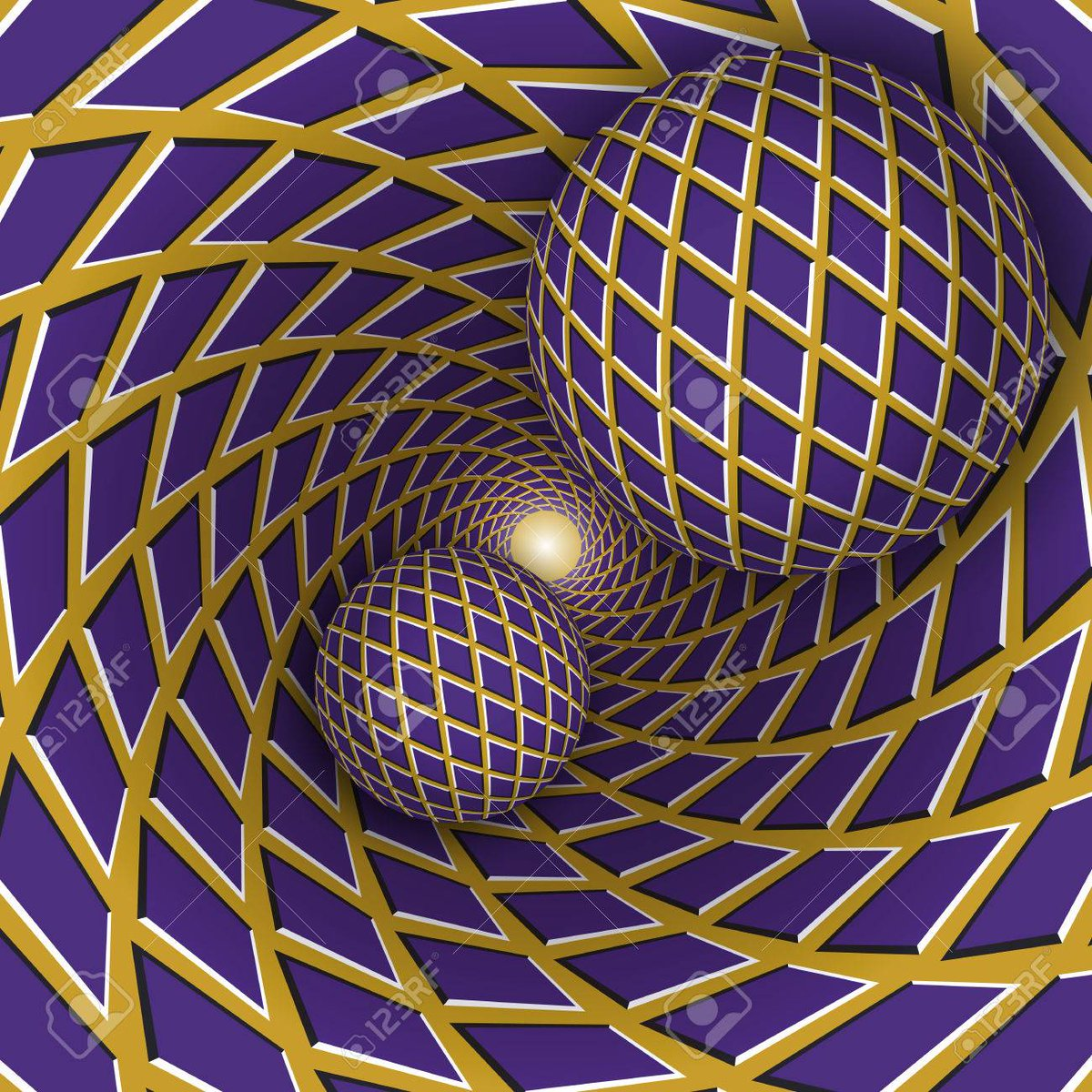 #Vector - #Opticalillusion illustration. Two balls are moving on rotating golden background with purple rhombuses. Abstract background in a surreal style. https://t.co/2FT7vUDUNw https://t.co/ljCvNsMGRd