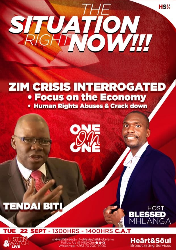"Conversations around nation building, we talk to @BitiTendai this Tuesday on Economy, Human rights, Zim crisis and MDC Alliance future. We are shifting the sands with @bbmhlanga - join us on ""The Situation Right Now"" @mdczimbabwe @wisdomdzungairi @TrevorNcube"