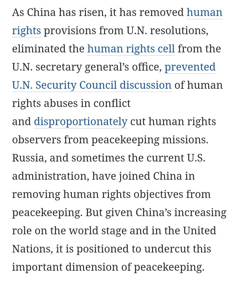 @globaltimesnews #unpeacekeeping mission @antonioguterres @UN_Spokesperson  Sirs, Pls verify the motives of Chinese missions with that of #Unpeacemission  We hv records that human rights in China is deplorable.  They prefer Authoritarian regimes in others countries too. Pls 🙏 review. @nytimes https://t.co/7jY7XPVA95