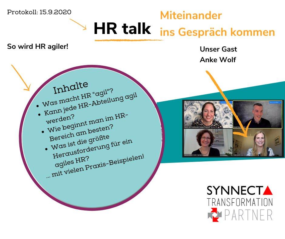 Am 15. Sep hatten wir Anke Wolf (https://t.co/hgZ9z69YdK) zu Gast in unserem »HR Talk«. Wir sprachen mit ihr über #agileHR und durften an ihrem reichen Erfahrungsschatz in diesem Bereich teilhaben. Herzlichen Dank dafür, liebe Anke! #synnecta #agileHR #transformationpartner https://t.co/Jgl43xYo6a