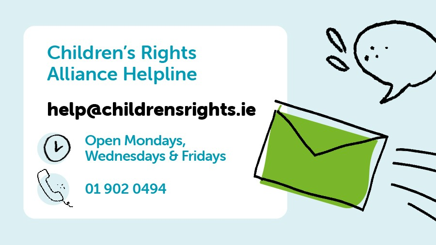Our Helpline is open at 10am this morning.   If you are worried about your child's rights in areas like #education, #disability, #immigration, #familylaw - please get in touch by calling 01 902 0494 or email help@childrensrights.ie https://t.co/Q50VIA3gVh