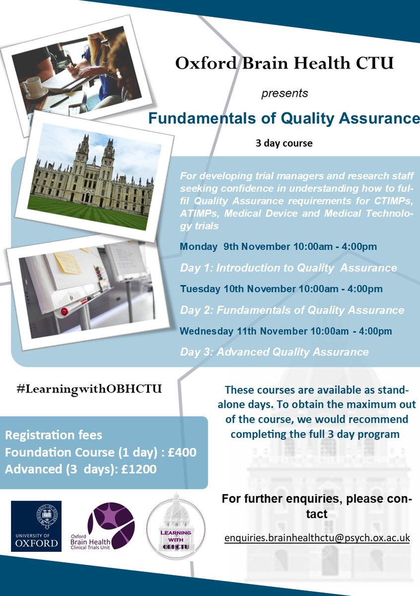Our Fundamentals of Quality Assurance Course aims provide an in-depth understanding of how to fulfil Quality Assurance requirements for CTIMPs, ATIMPs, Medical Device and Medical Technology trials.   Contact enquiries.brainhealthctu@psych.ox.ac.uk to register today! https://t.co/Z2m3uOLRvD