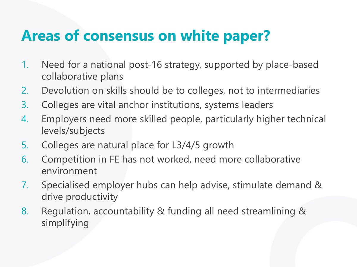 Good to see so many ideas generated through @CollegeComm #FutureCollege in @EDSKthinktank report. Here's part of presentation we have been debating with @AoC_info members, showing direction FE white paper likely to take https://t.co/CxGEceT2KC
