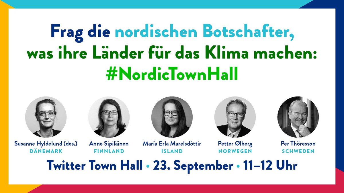 Don't miss this opportunity! On Tuesday, 23 September, we will hold our second #NordicTownHall here on #Twitter. This time, we want to discuss #Climate with you, and share our #Nordic experiences. Please join! #SDGs #SDG13 #Agenda2030 https://t.co/AyPpJhp4aC