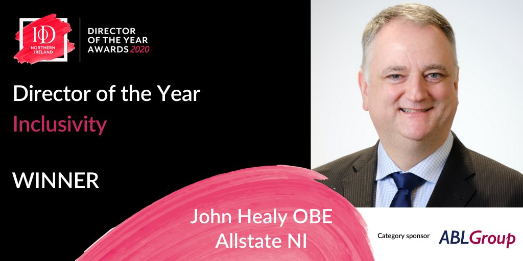 CONGRATULATIONS to John Healy OBE @AllstateNI who has been crowned winner of our Director of the Year – Inclusivity category! 🏆🎉✨  Special thanks to our category sponsor @AbbeyBondLovis   #DOTYA https://t.co/E3p8cXgfAV