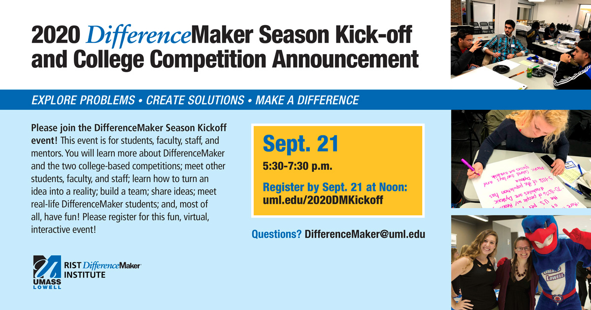 If you're interested in becoming an #entrepreneur and bringing your ideas to reality, the @Difference_UML event on Monday, Sept. 21 at 5:30 p.m. is a great way to get started! You can register at https://t.co/ZmtNNgKUMi https://t.co/VFybhMci1N