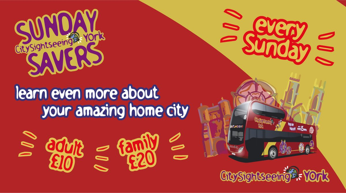 📯 Calling all residents of #York   🎟️ Hop on our spectacular sightseeing tour of York every Sunday for just £10 for an adult or £20 for a family with a @CityofYork York Card!   See more here 👉https://t.co/IpdkJGDgBo https://t.co/4UF1MYVhhc