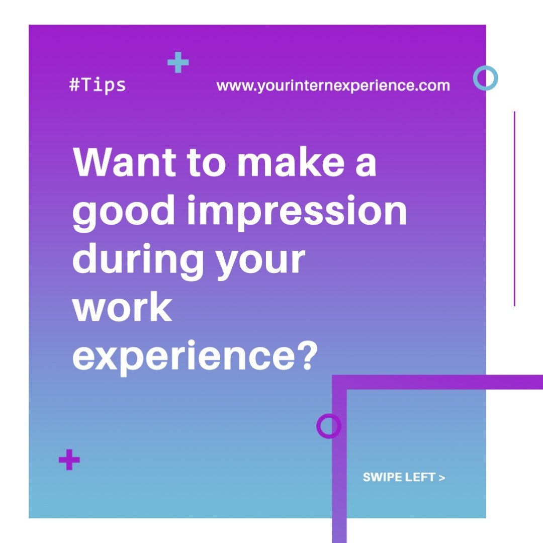 Want to make a good impression during your work experience?   ✅ Be enthusiastic.  ✅ Embrace the tasks given to you, regardless if it is menial, and complete it to the best of your ability.   #yourinternexperience #YIE #goodimpression #workexperience https://t.co/puC3t9Fw0d