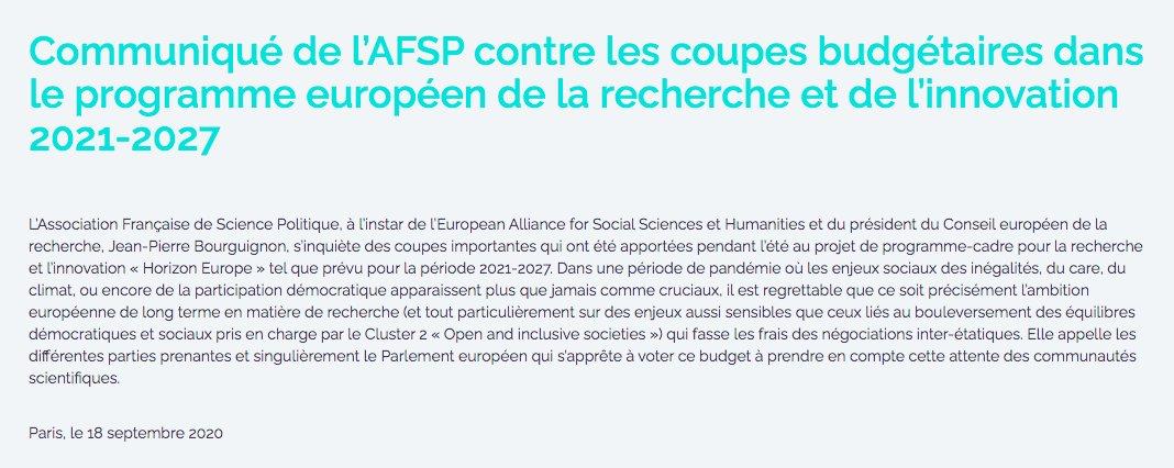 #Communiqué de l'AFSP contre les coupes budgétaires dans le programme européen de la recherche et de l'innovation 2021-2027 https://t.co/NX5oe8JZxf https://t.co/9vCCRAFFAu