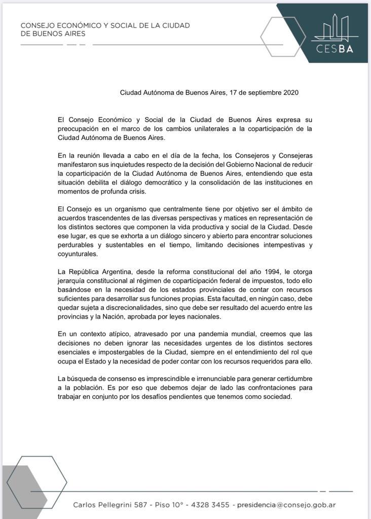 Comunicado de Prensa: El Consejo Económico y Social de la Ciudad de Buenos Aires, expresa su preocupación en el marco de los cambios unilaterales a la coparticipación de la Ciudad de Buenos Aires. https://t.co/c7kFfNHEtl