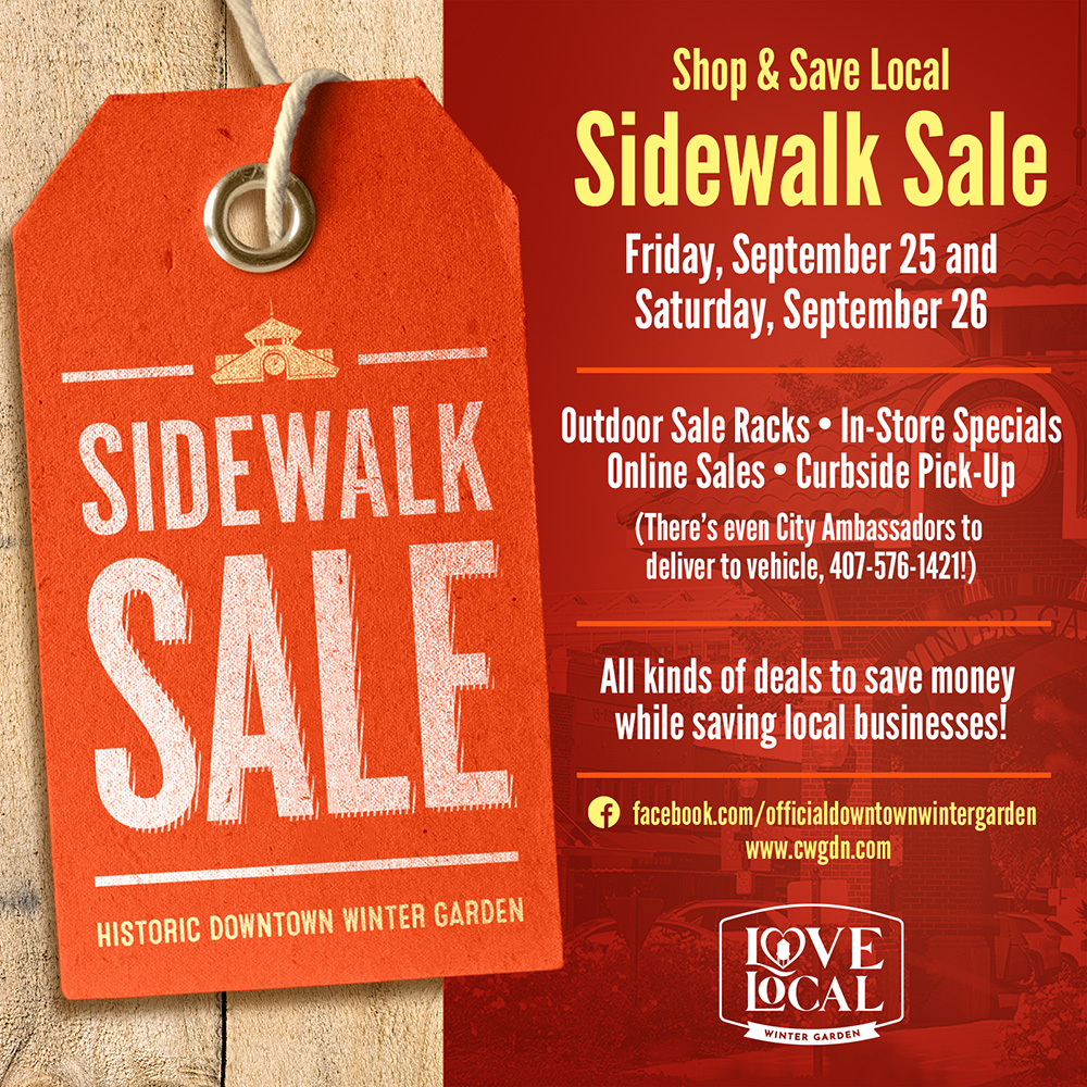 There will be an outdoor Shop & Save Local Sidewalk Sale along the historic brick-lined streets of Downtown Winter Garden, Sept. 25-26. Additional specials will be offered virtually, and curbside pick-up and delivery by City Ambassadors will also be available. https://t.co/CQdebcqFZz