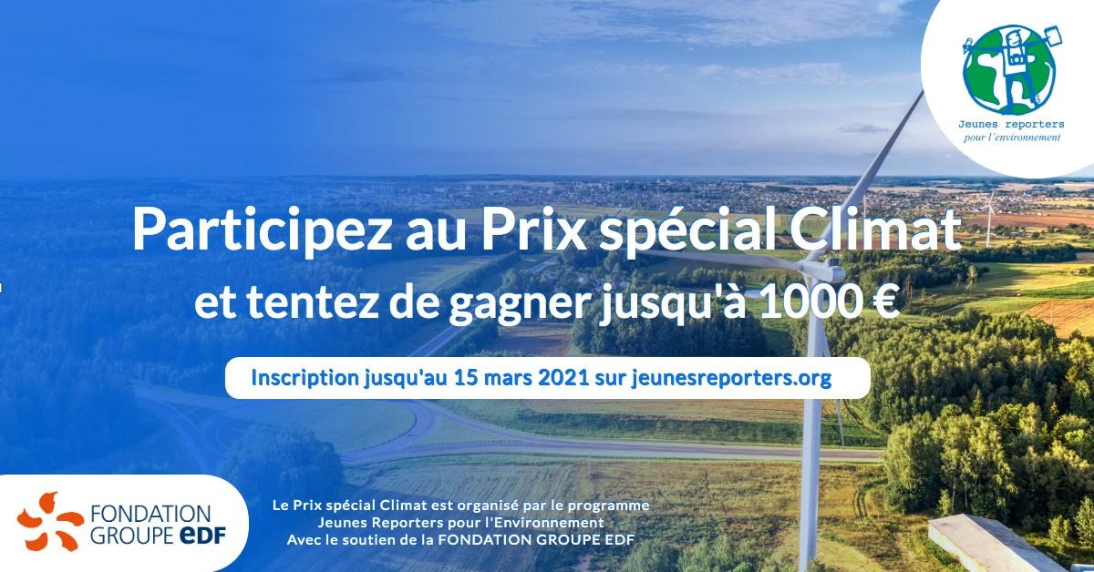 @fondationEDF soutient @JRE_France  dans le cadre du Prix spécial Climat. Les jeunes de 11 à 25 ans peuvent réaliser un reportage en lien avec l'#ODD13 et tenter de gagner jusqu'à 1000 euros. Participation sur https://t.co/0ZRgnnDb8f. https://t.co/FzAUbDlOnq