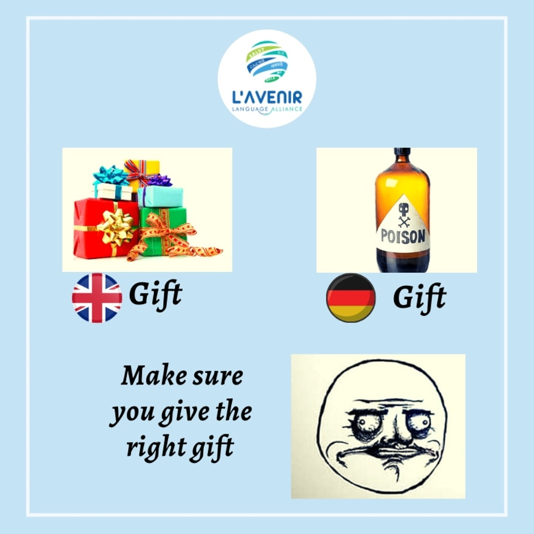 """Don't """"gift"""" your German friends. """"Geschenk"""" them!  Tag your friends whose birthday is approaching!!  #germany #germanmeme #funny #germanjoke #learngerman #gifts #poison #easygerman #words #phrases #meme #socialmediadissect #gifts #memesdaily #germanmeme  #lavenirlanguages https://t.co/PDZMu3S5bX"""