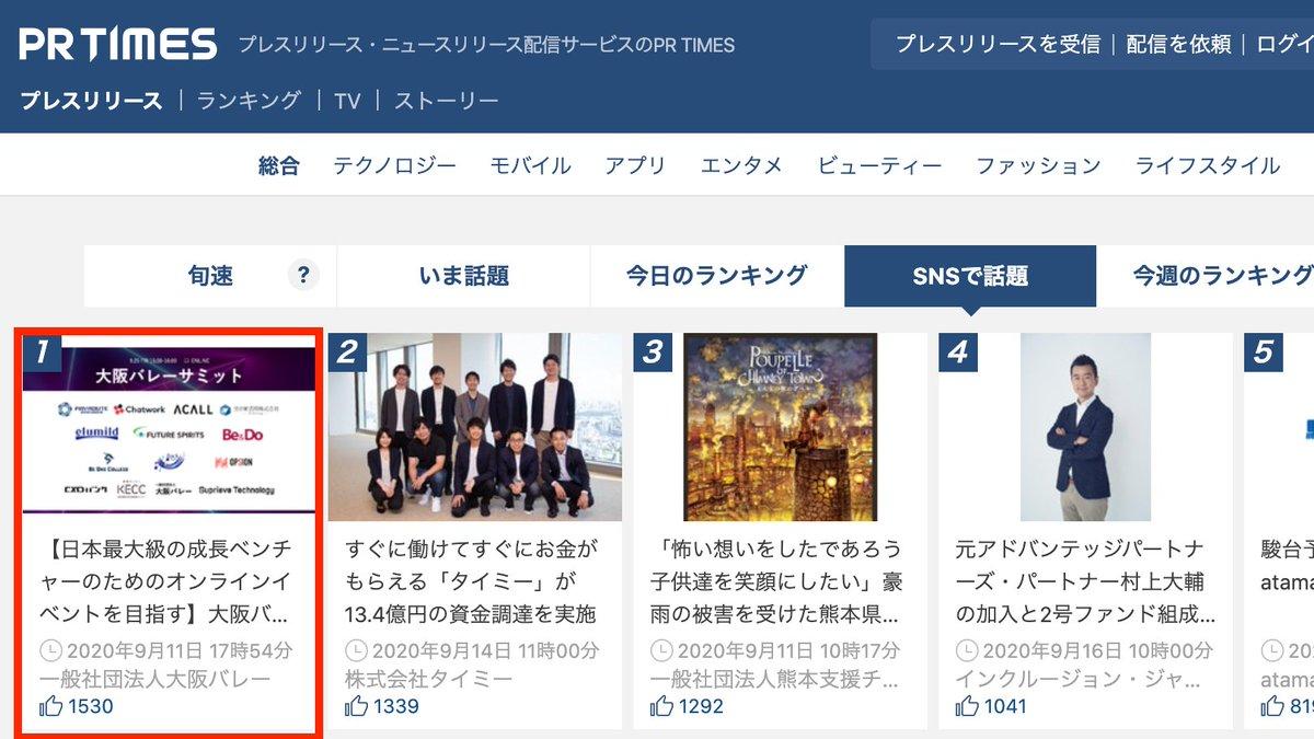 PR TIMES 1位獲得。大阪バレーサミット。関西の成長ベンチャー10社×5分オンラインプレゼン。参加費用無料。9月25日15:00-16:00。詳細はこちら