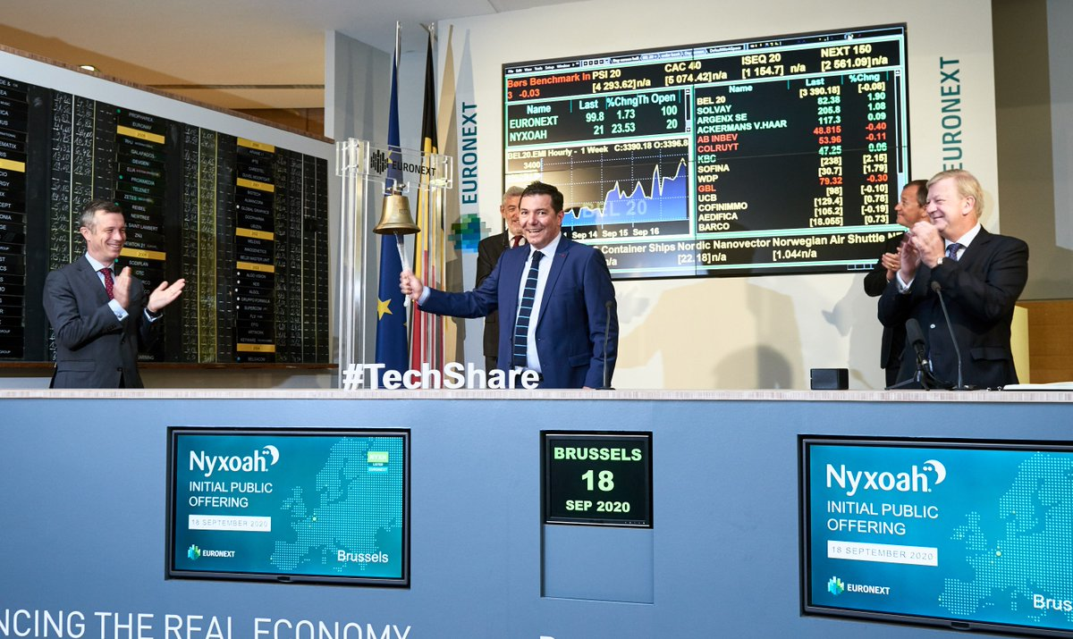 🚀 Today's #IPO of Nyxoah on Euronext Brussels was a resounding success! The offering, which was multiple times oversubscribed, allowed the #medtech company to raise up to €85 million. Nyxoah is the first Belgian alumni of #TechShare to go public. Congratulations! https://t.co/r5nFNFTzn4