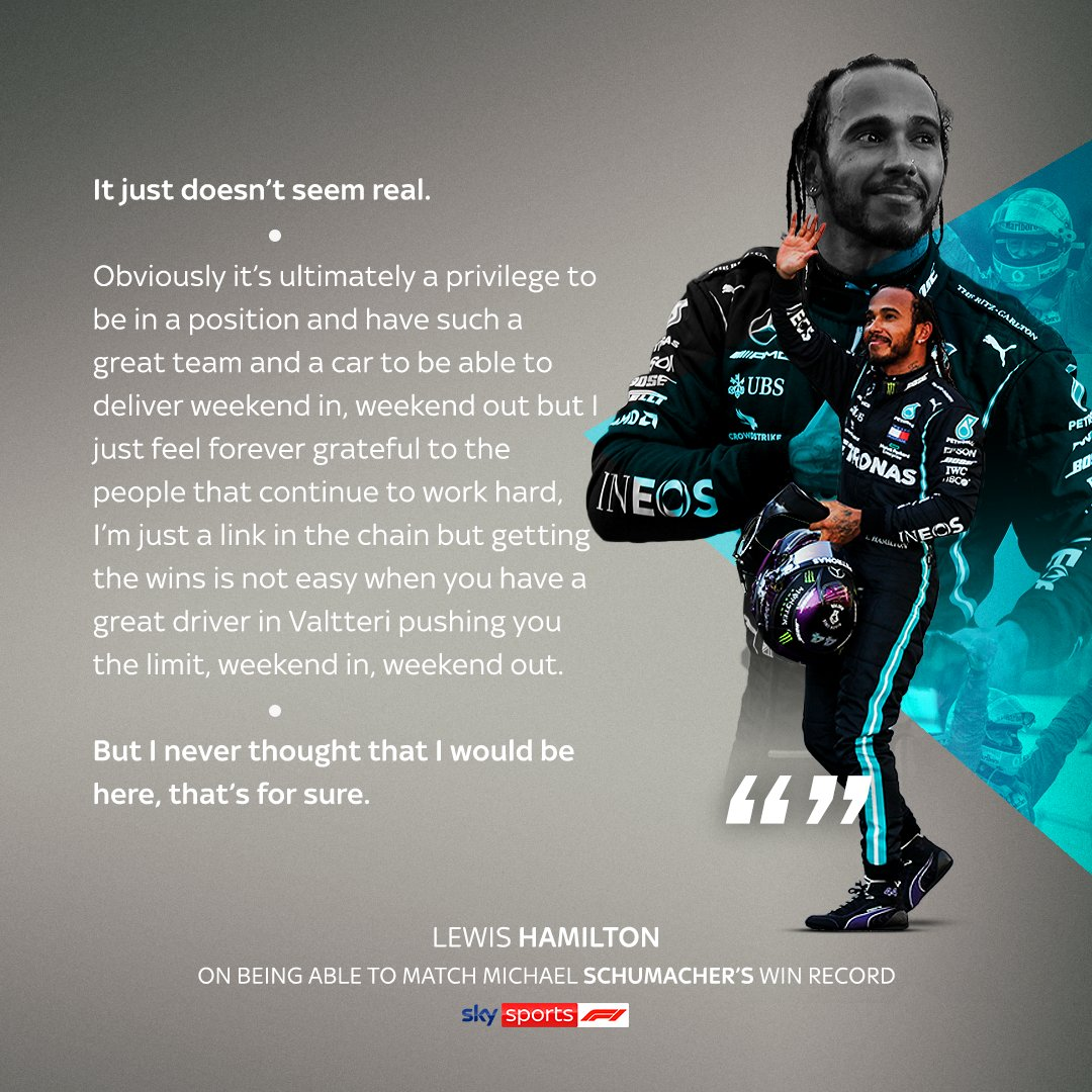 Lewis Hamilton cannot believe he is just 1️⃣ victory away from matching the great Michael Schumacher's all-time win record.  #SkyF1 | #F1 https://t.co/RLr9OmyYZK