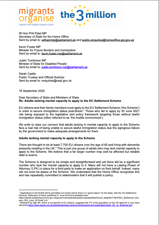 We have written to @ukhomeoffice with @the3million to express our strong concerns about those with disabilities which affect their mental capacity being able to access the EU settlement scheme. Read the full letter, and find out more on our blog: migrantsorganise.org/?p=29216