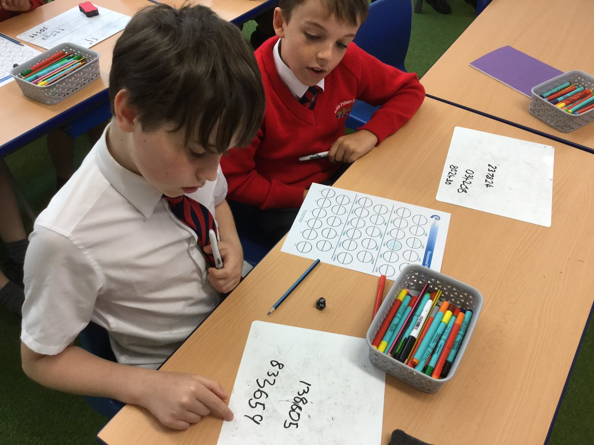 We played 'Reasoned Rounding' @nrichmaths this morning using the skills we have developed this week. Some of us quickly realised we could play strategically and manipulate the digits rolled to win the point 😁👍⬆️⬇️🥇🎲 Excellent reasoning certainly took place! https://t.co/d8oz92EE3z