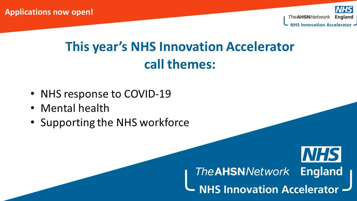 The @NHSAccelerator is looking to help evidence-based innovations that address the NHS response to #COVID19, #mentalhealth or the #NHS workforce spread nationally. To apply, visit here: https://t.co/T0YrQ1ZWq5 https://t.co/mnxvSavneQ