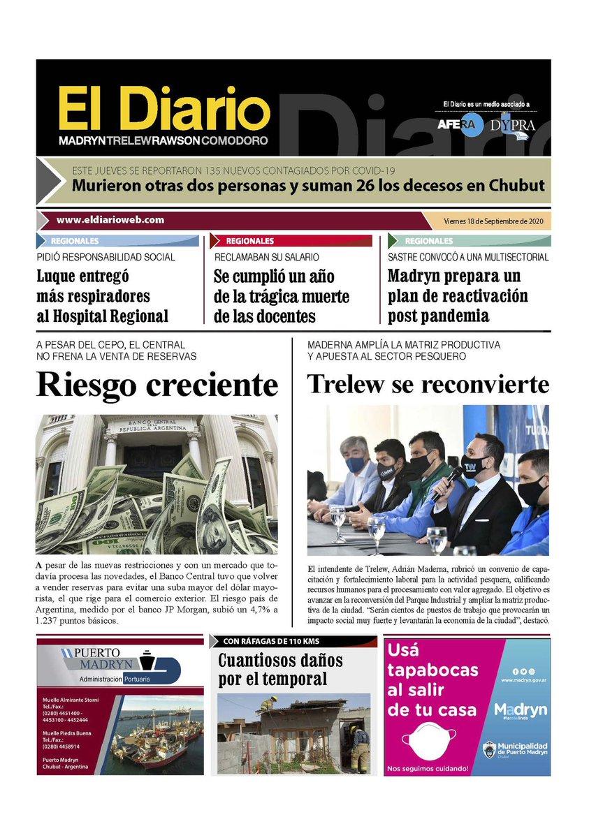 #TapasDiarios #BuenosDias #HolaViernes Viernes, 18 de septiembre 2020 estos son los titulos de los diarios del #Chubut #Conectados con la #Actualidad https://t.co/a6MaZE3urP