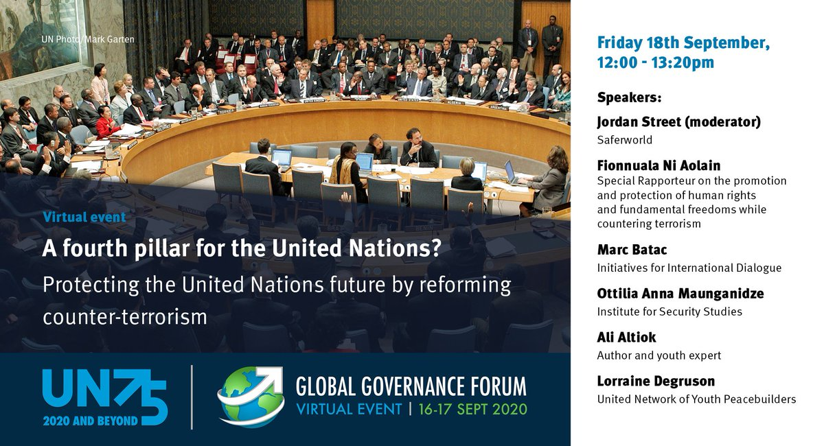 Join us at the #GlobalGovForum today, 5 pm BST. Saferworld's @jordan_street07 will present 'A fourth pillar for the United Nations? Protecting the United Nations by reforming counterterrorism' with @marcbbatac @MaS1banda and @atomicsentences. Register now: https://t.co/rpOOrwYygb https://t.co/KvtFf9kzRv
