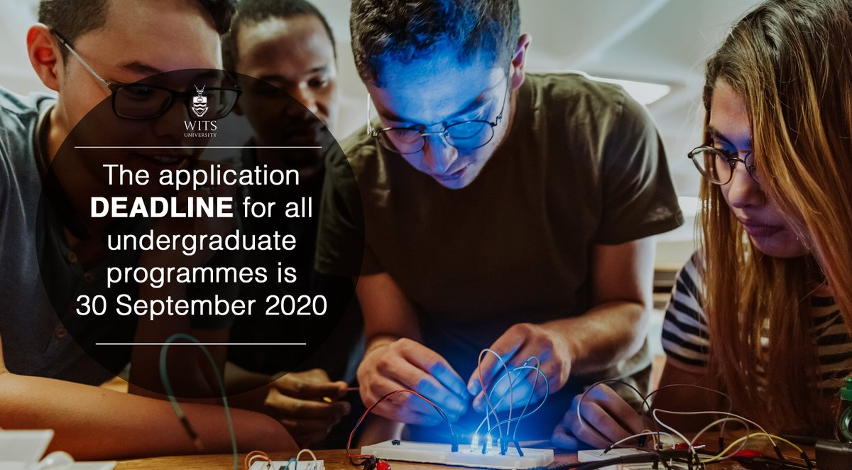 ⏰📚 DEADLINE REMINDER: Are you still thinking about studying at Wits? Do you still need to finish your online application? Don't delay, apply today! If you need more guidance regarding the application process visit https://t.co/gDAVDTq0Ot. Applications close 30 September 2020. https://t.co/ldr6Xieiwl
