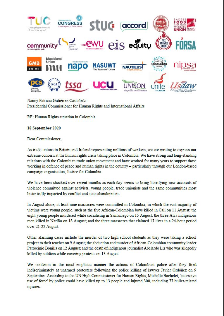 .@NEUnion is proud to have co-signed this letter with British and Irish trade unions calling for action to end the human rights crisis in Colombia. Through our work with @JFColombia, we stand firm alongside our Colombian colleagues in their struggle for peace and social justice. https://t.co/yUTibEQxLX