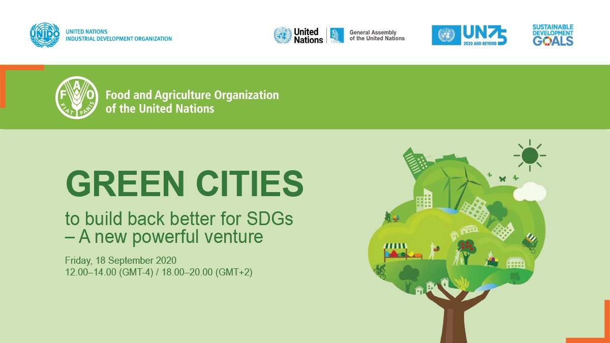 📢 Happening TODAY!   Join us for the #UNGA75 discussion about improving people's wellbeing through green spaces, agriculture & #sustainable food systems 🌳  Register: https://t.co/E8IJ4KKnmp More about #UNIDO's engagement: https://t.co/O4gzkFcx4V https://t.co/ZAdO8MXqv3