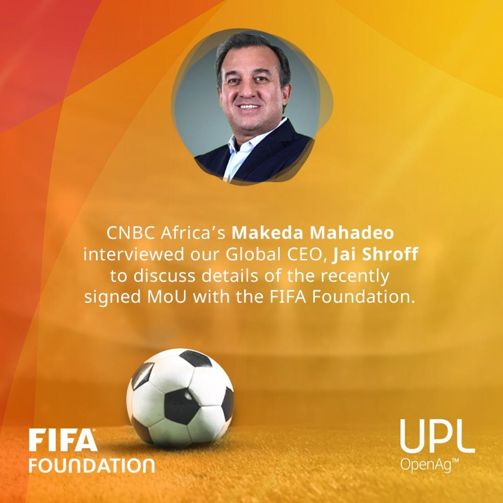 Our recent collaboration agreement with the FIFA Foundation aims to promote awareness about #sustainabledevelopment in agriculture through football.  Watch our Global CEO, Jai Shroff in conversation CNBC Africa's Makeda Mahadeo- https://t.co/D7UswGGWSr… @FIFAcom @FIFAMuseum https://t.co/DjjcRWrpPx