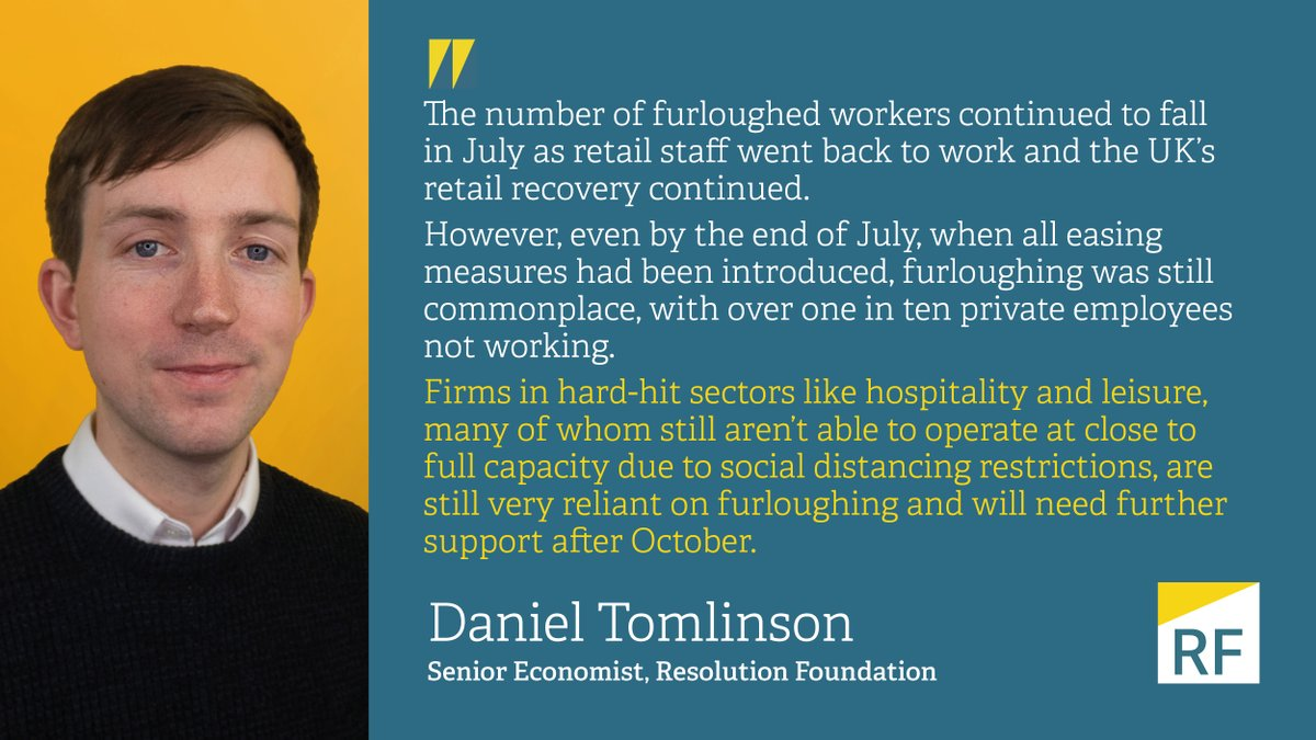 Retail workers went back to work in July, but over two in five hospitality and leisure workers still furloughed - our quickfire take on today's stats on take-up of the Coronavirus Job Retention Scheme from @HMRCgovuk https://t.co/kApQ4jdkhF https://t.co/QGzQO1eY2B