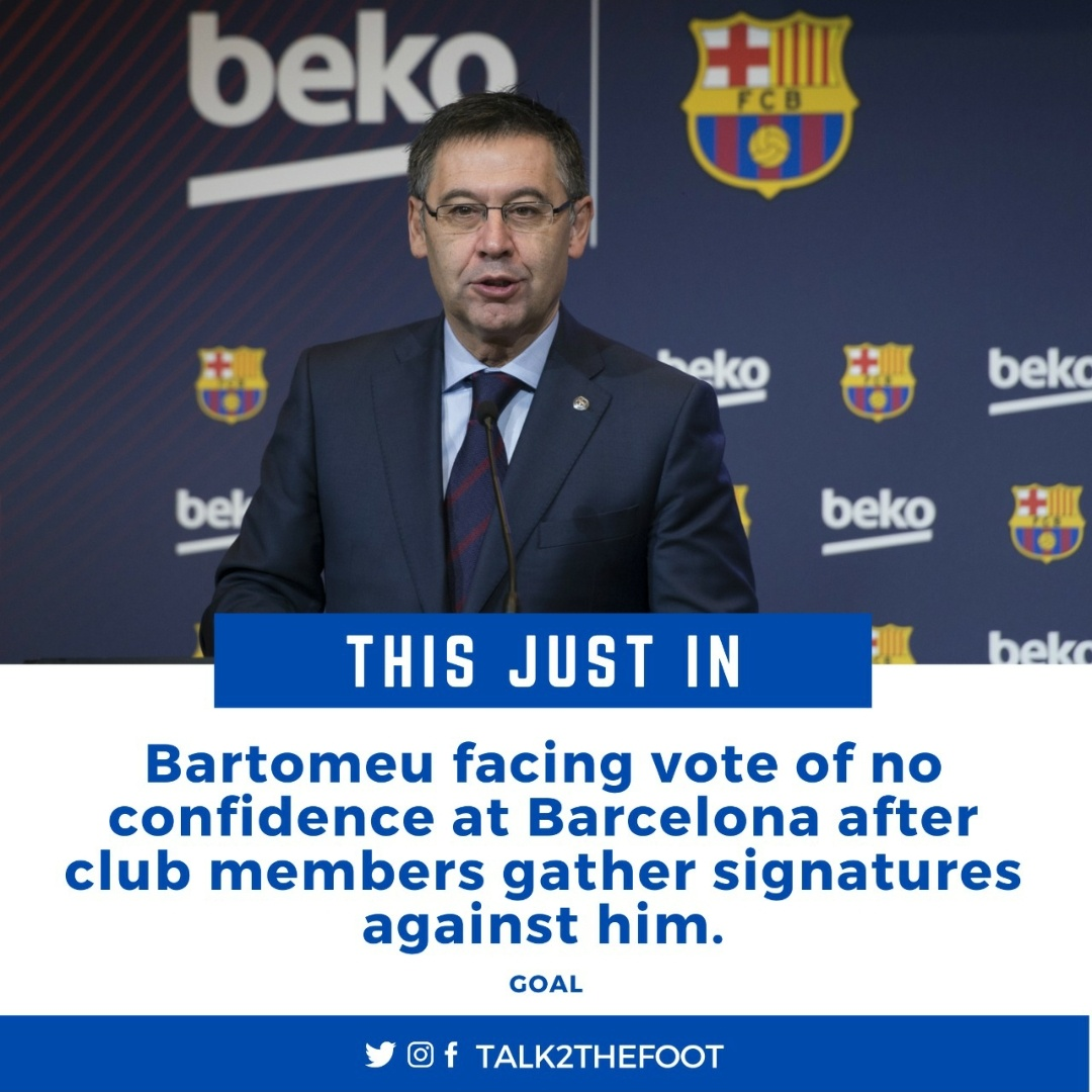 ❌ The LaLiga giants confirmed on Thursday that enough members had delivered a vote of censure against the Barcelona board. It said a total of 20,687 signatures had been counted although they must still be validated before a vote goes ahead.  #Barcelona #Messi #Bartomeu #LaLiga https://t.co/aTXVMUN8NA