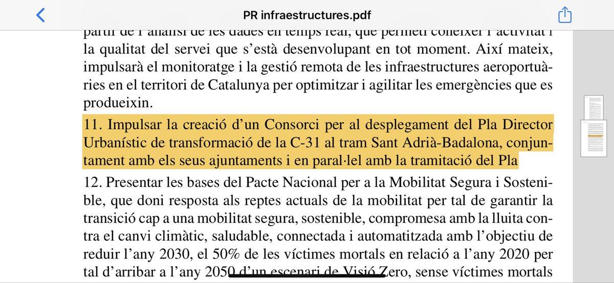 🔴El @parlamentcat aprova una resolució per impulsar la creació d'un Consorci per al desplegament del Pla Director Urbanístic de transformació de la C-31 al tram #SantAdrià - #Badalona.