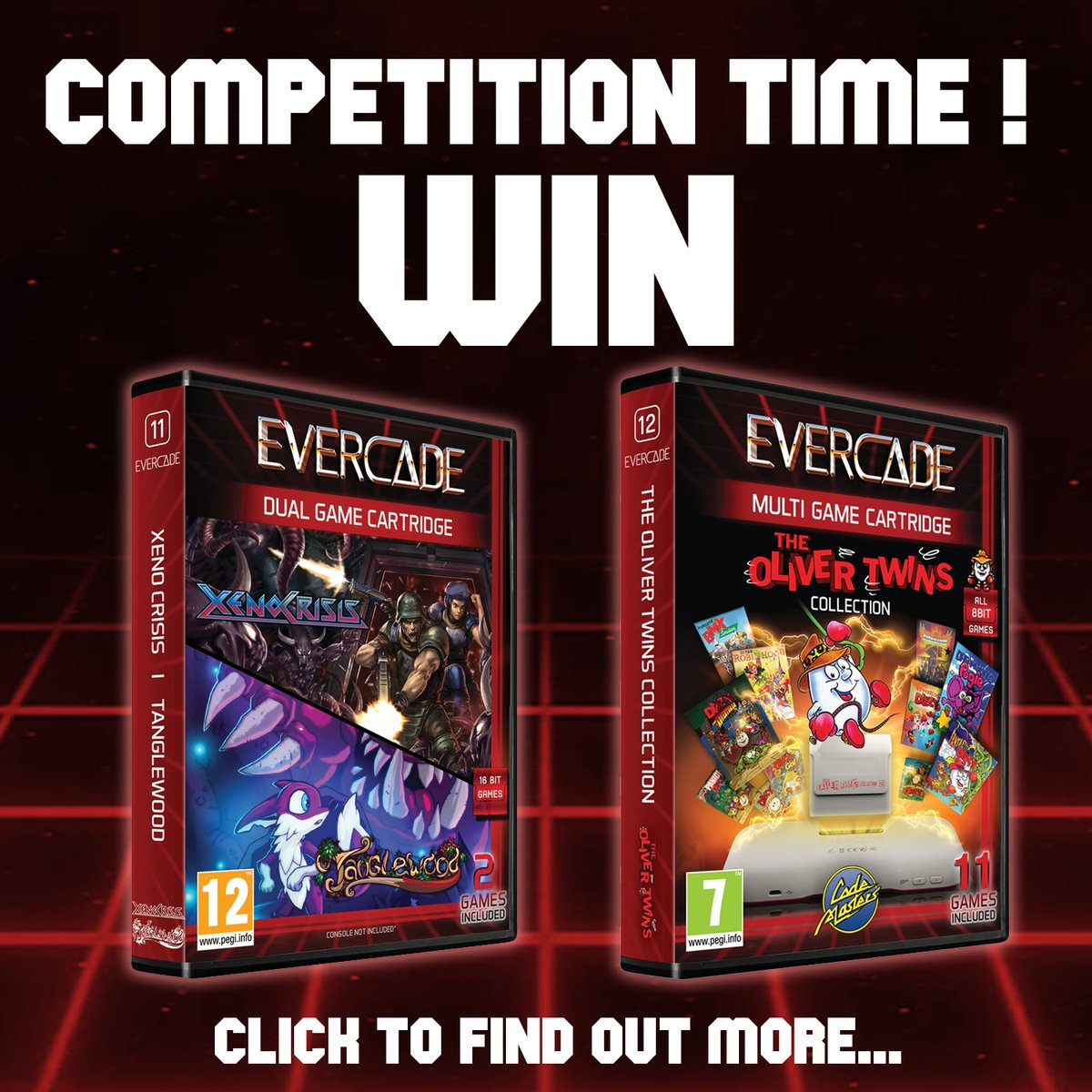 Competition Time! We are giving one lucky person a chance to win copies of our Oliver Twins and XenoCrisis/Tanglewood cartridges. Retweet and Follow us for one entry. Find out ALL the ways you can enter to improve your chances of winning -