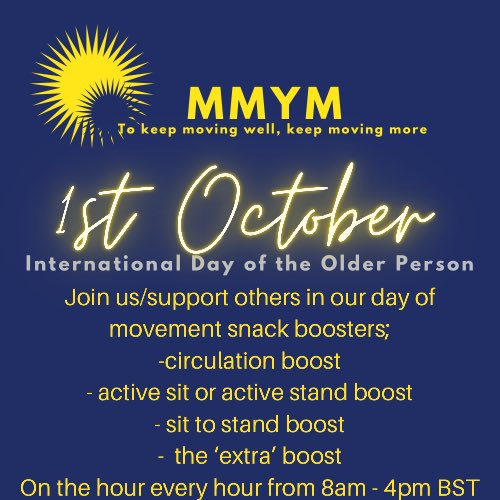 test Twitter Media - 1st October full day of hourly movement snacks for all. It's a pick n mix of additional hourly mini-movement boosters designed to accumulate additional movement minutes - choose from 1minute to 10minutes every hour - (with our usual 8am/noon/4pm format) https://t.co/9FsYMkOeKa