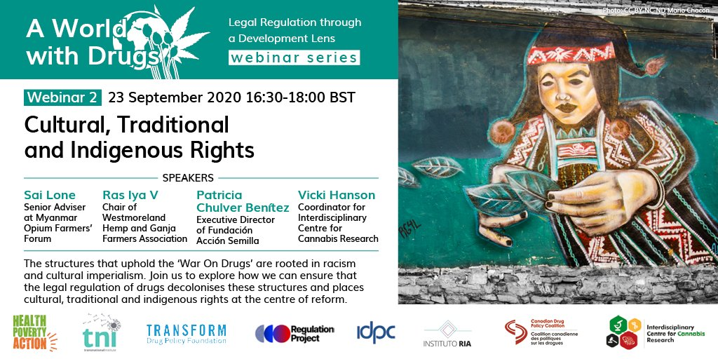 "How can #legalregulation contribute to undoing the racism, colonialism and imperialism that structures the ""#warondrugs""?  Register to join this important discussion with colleagues from Bolivia 🇧🇴, Jamaica 🇯🇲 & Myanmar 🇲🇲: https://t.co/NAEhIvegiK #aWorldWithDrugs https://t.co/rdM4TVLiQM"