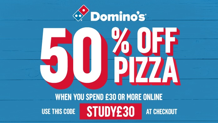 Friday night in with @Dominos_UK ? Use the code STUDY£30 and get a whopping 50% off pizza at the checkout 🍕🍕 https://t.co/ldLDvnWDG8